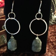 Sterling Silver & Rough Cut Labradorite Earrings